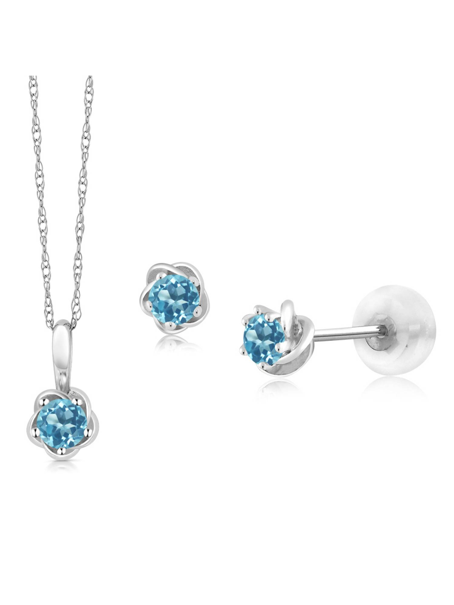 10K White Gold 0.50 Ct Round Swiss Blue Topaz Pendant Earrings Set with Chain by