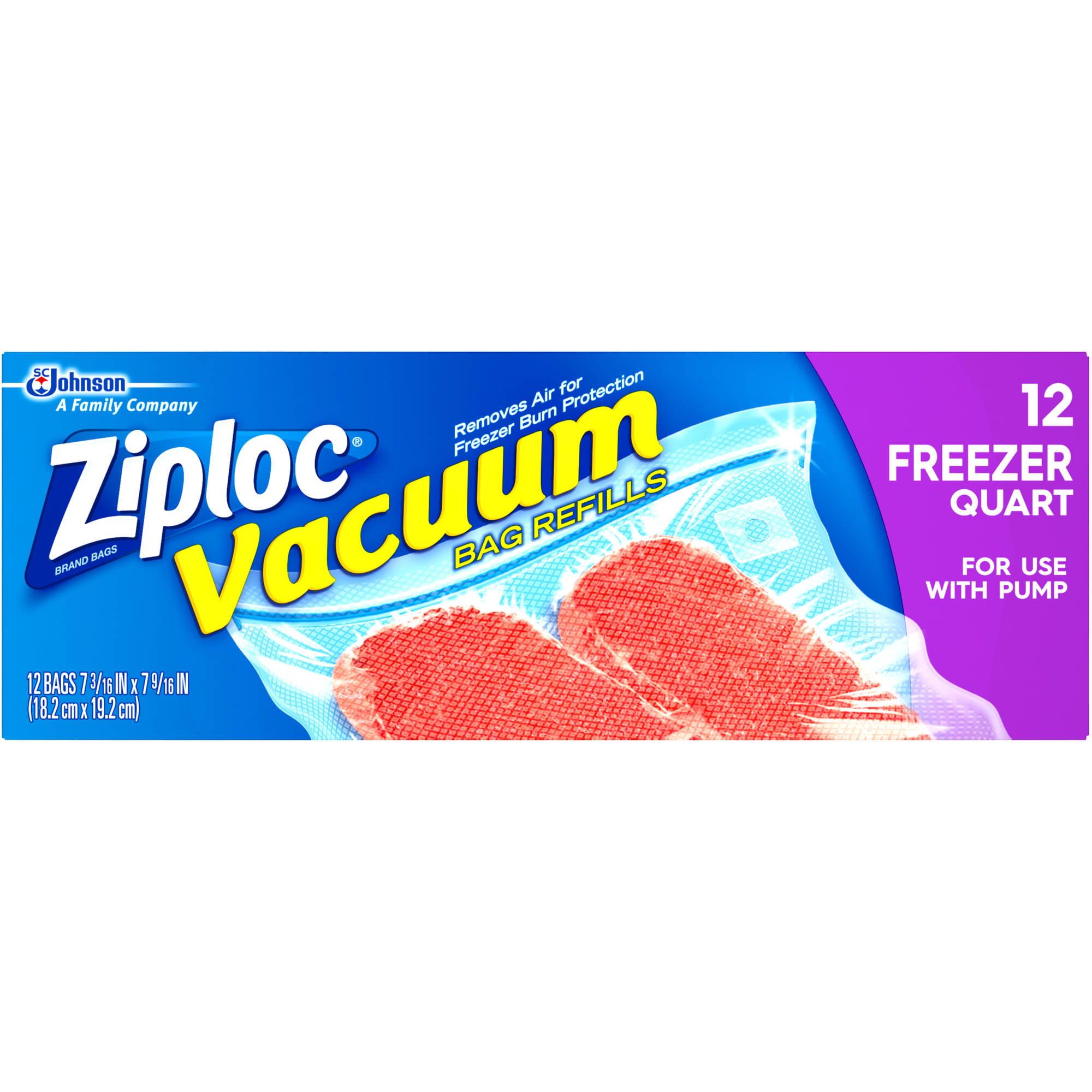 Ziploc Freezer Quart Vacuum Bag Refills, 12 count