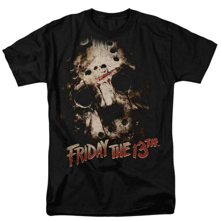 Friday The 13th Mens Black Jason Mask Graphic Horror Movie T-Shirt