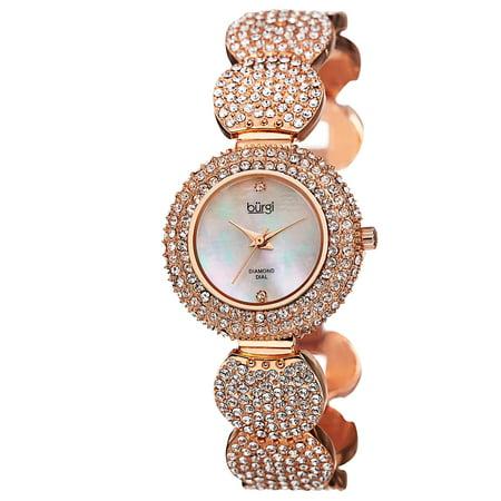 Women's Swiss Quartz Diamond Dial Crystal-Accented Rose-Tone Bracelet Watch