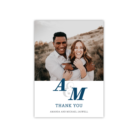 Personalized Wedding Deluxe 5 x 7 Thank You - Modern Monogram ()