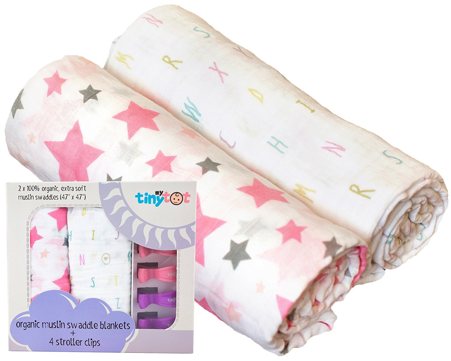Organic Muslin Girl Swaddle Blanket & Extremely Soft, Use As a Receiving Blanket, Nursing, Cover, Stroller... by My Tiny Tot