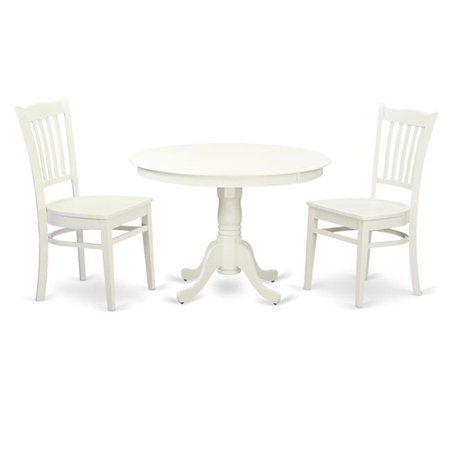 East West Furniture HLGR3-LWH-W Wood Seat Dining Set - 1 Round Table & Two Chairs, Linen White - 42 in. - 3 Piece ()