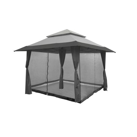 Z-Shade 13 x 13 Foot Instant Gazebo Canopy Outdoor Shelter with Bug Screen, Gray - Wednesday 13 Halloween 13-13