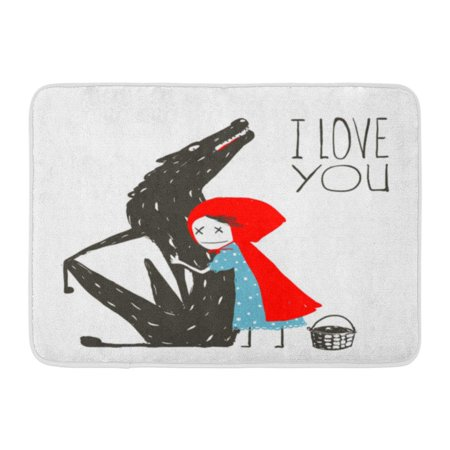 GODPOK Story Blue Cap Little Red Riding Hood Loves Black Wolf Hugs for The Fairy Tale Colorful Sign Cartoon Rug Doormat Bath Mat 23.6x15.7 - Little Red Riding Hood And Wolf Costume