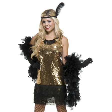 Charades Womens Sexy Gold Glitter Flapper 20s Halloween Costume (Halloween Charades Words)