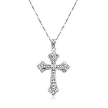 Diamond Accent Cross Diamond Accented (White Diamond Accent Sterling Silver Cross Pendant,)