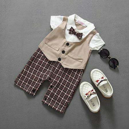 Boys Newborn Infant Baby Kids Romper Gentleman Bodysuit Outfit Clothing