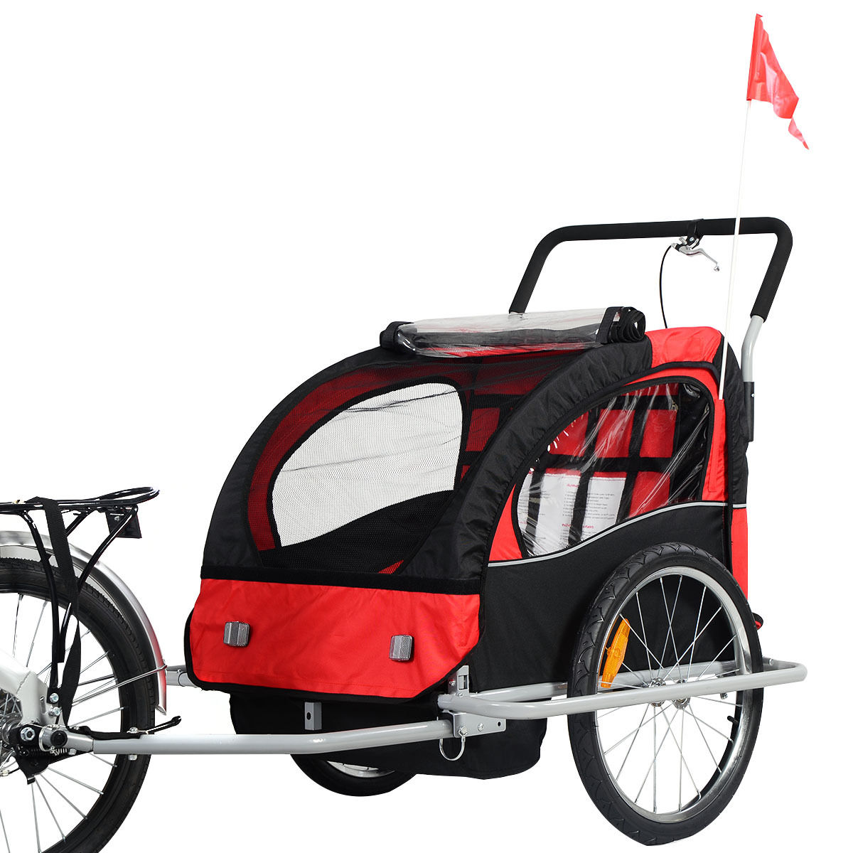 New 2 in 1 Bicycle Carrier Double Infant Child Baby Bike Trailer Jogger Stroller
