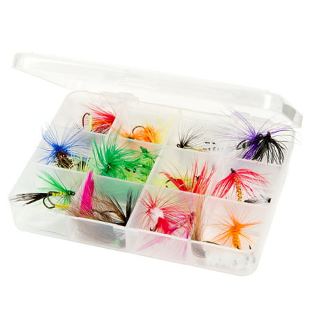 Dry Fly Fishing Lure Kit - Essential Freshwater Hook Tackle Box Assortment for Trout, Salmon or Bass Anglers by Wakeman Outdoors (25 Pieces) ()
