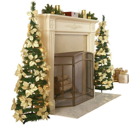 collections etc lighted holiday poinsettia pull up christmas tree with white poinsettias white - Pull Up Christmas Trees Decorated