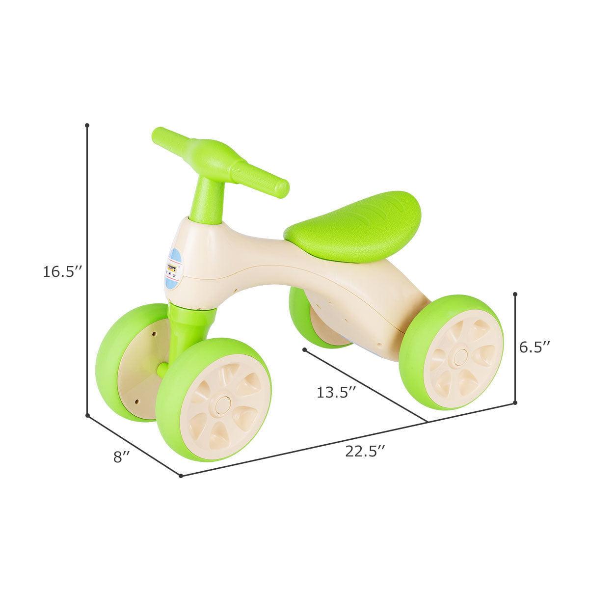 Costway Baby Balance Bike No Pedal Bicycle Children Walker 4 Wheels w/ Sound & Storage - image 4 de 10