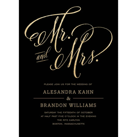 Mr and Mrs Standard Wedding Invitation for $<!---->