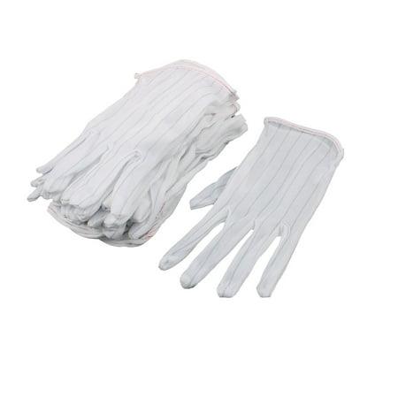 Unique Bargains 10 Pairs Full Finger Nonslip Dispensing Dustless Anti Static Glove White - Finger Anti Slip Glove