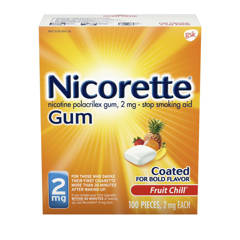 Nicorette Nicotine Gum, Stop Smoking Aid, 2 mg, Fruit Chill Flavor, 100 count