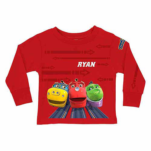 Personalized Chuggington Ridin the Rails Toddler Boy Red Long Sleeve Tee
