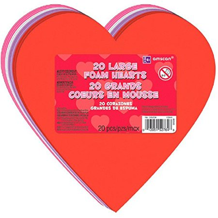 Amscan Valentine's Day Large Craft Foam Hearts Party Favor & Decoration (20 Pieces), Multicolor, 6