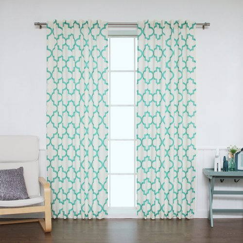 Best Home Fashion, Inc. Moroccan Geometric Sheer Rod Pocket Curtain Panels (Set of 2)
