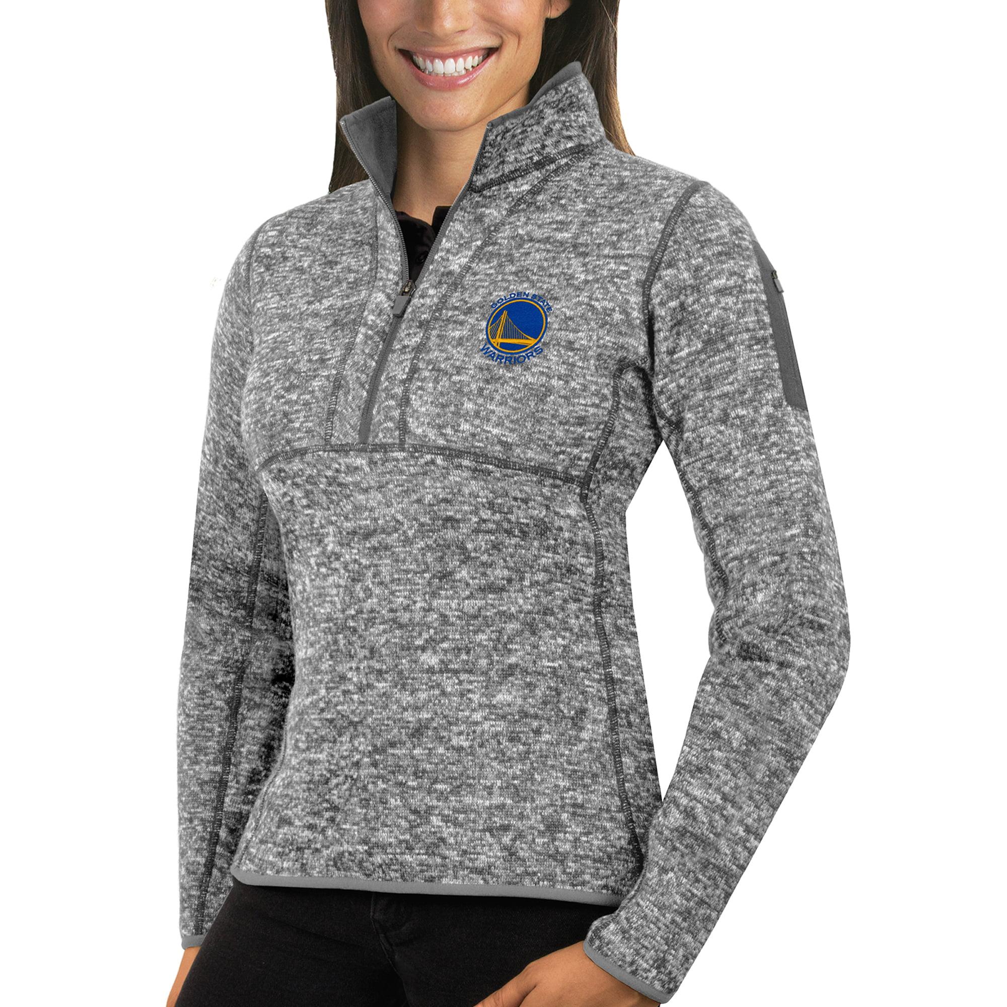 Golden State Warriors Antigua Women's Fortune Half-Zip Pullover Jacket - Heather Gray