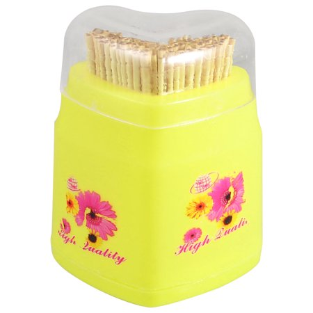 Unique Bargains Home Resturant Heart Shape Yellow Plastic Shell Toothpick Holder Case Boxes