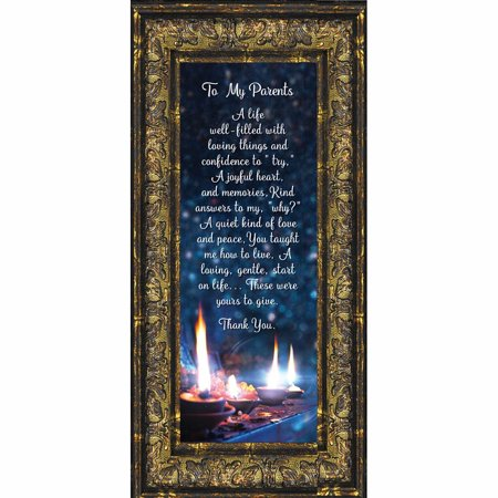 Thank You To My Parents, Appreciation for Parents Framed Poem, 6x12 7322