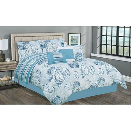 Soft Blue & White Coastal Seashells & Sand Dollars Nautical Beach King Comforter Set (7 Piece Bed in A Bag)