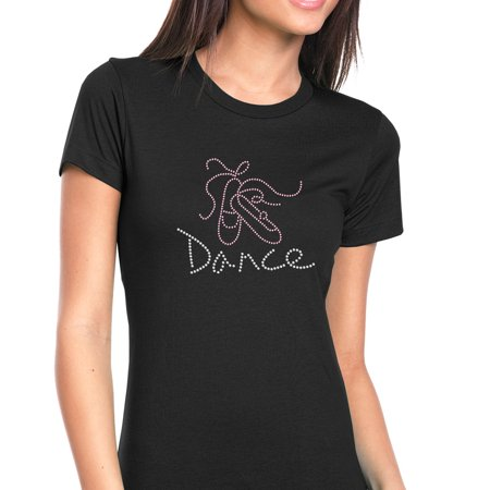 Womens T-Shirt Rhinestone Bling Black Tee Ballet Shoes Dance Ballerina Crew Neck