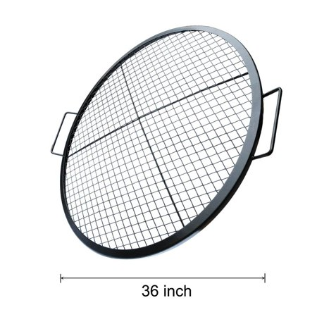 Stanbroil Heavy Duty X Marks Round Fire Pit Cooking Grate Grill With Support Frame  36 Inch