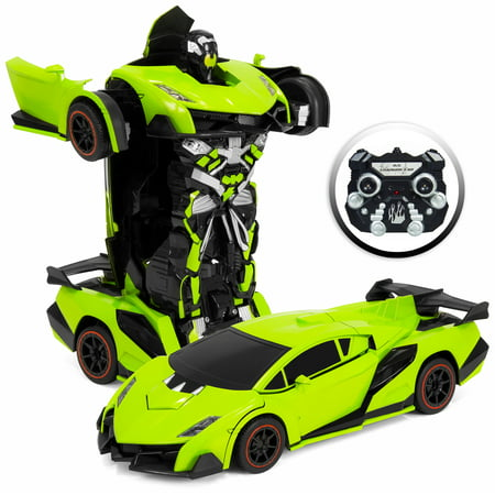 Best Choice Products 1:16 Scale Large Size Kids Interactive Transforming RC Remote Control Robot Drifting Sports Race Car Toy w/ Sounds, LED Lights - Green ()