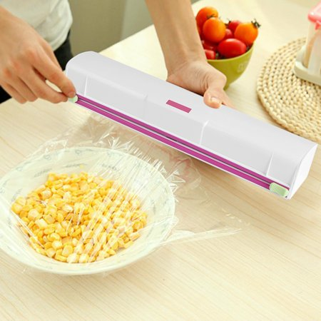 Food Wrap Dispenser,Easy to Use Food Plastic Wrap Cutter, Foil and Cling Film Cutter Plastic Storage Holder Kitchen