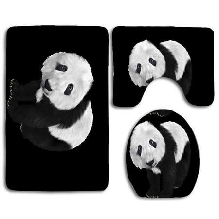 Gohao Panda Panda Cub Toon Furry 3 Piece Bathroom Rugs Set