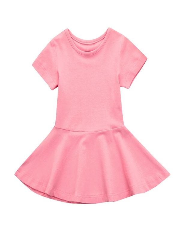 Outtop Baby Girl Candy Color Short Sleeve Solid Princess Tutu Casual Toddler Kids Dress