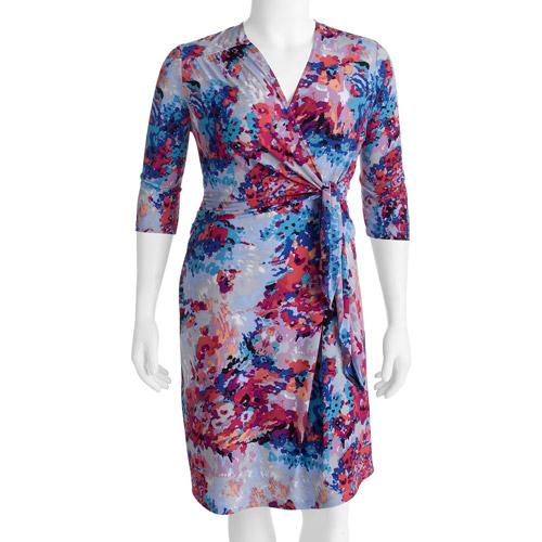 George Easy Wear Collection Women's Plus-Size Wrap Dress