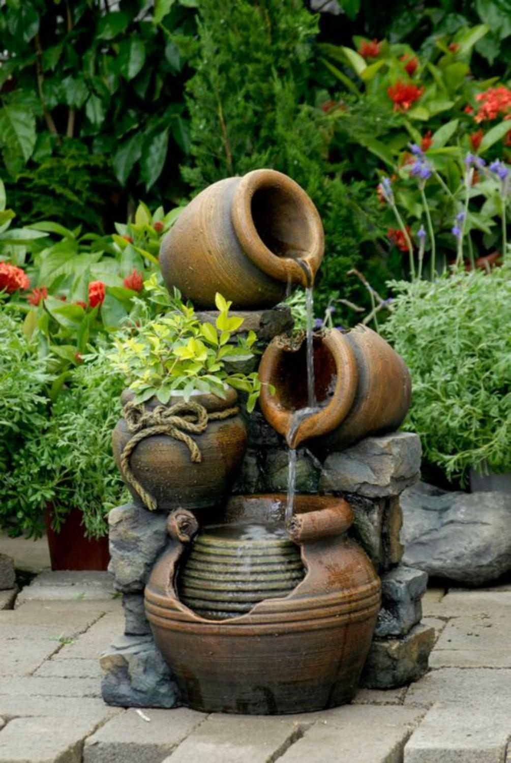 """Click here to buy 23.6"""" Three-Tiered Clay Look Pots Outdoor Patio Garden Water Fountain with Planter by CC Outdoor Living."""
