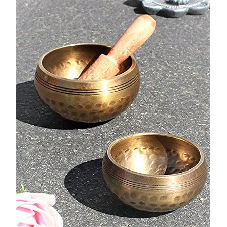 2 Pcs Tibetan Singing Bowl Standing Bell Set Himalayan Bowl For Chakras Meditation Mind Healing Peace of Heart Prayer Yoga Religion Buddhist Bowl w 1 Mallet Wooden Striker