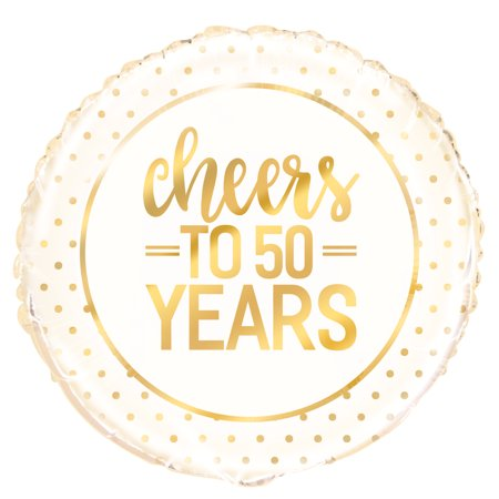 "Foil ""Cheers to 50 Years"" 50th Anniversary Balloon, 18 in, Gold, 1ct"