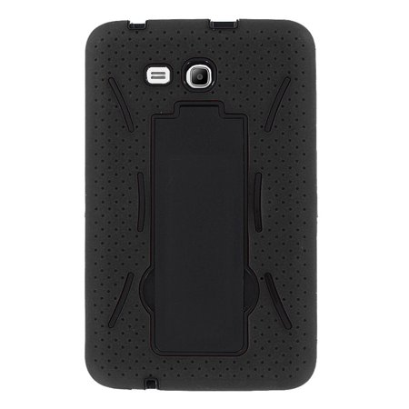 Shockproof Protection Hybrid Case Cover Shield with Screen Protector and Kickstand by KIQ For Samsung Galaxy Tab A 7.0 SM-T280 SM-T285 (Black) ()