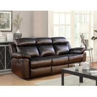 Devon & Claire Brandy Brown Top Grain Leather Reclining Sofa
