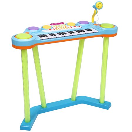 GHP 37-Key Blue ABS Plastic Kids Electronic Keyboard Piano Drums with - Plastic Piano Keyboard