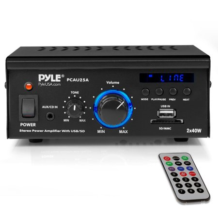 PYLE PCAU25A - Stereo Power Amplifier System - Digital Audio Speaker Amp with MP3/AUX/USB/SD Readers, LED Display, 2 x 40 Watt Audio Stereo Amplifier Amp