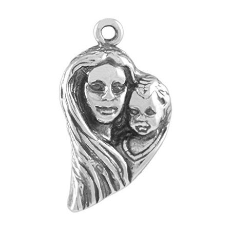Outline Sterling Silver Charm (Sterling Silver Mother and Child Heart Outline Charm or Pendant Item)