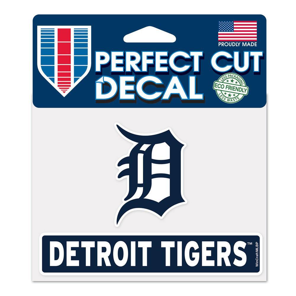"Detroit Tigers WinCraft 4"" x 5"" Perfect Cut Logo Slogan Decal - No Size"