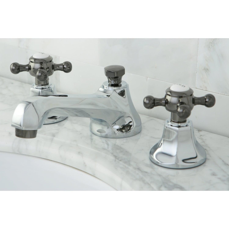Kingston Brass Chrome Black Cross Handle Widespread Bathroom