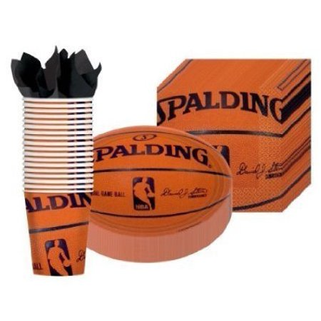 Spalding Basketball - Party Supplies Pack Including Plates, Cups, and Napkins- 18 Guests (Basketball Supplies)
