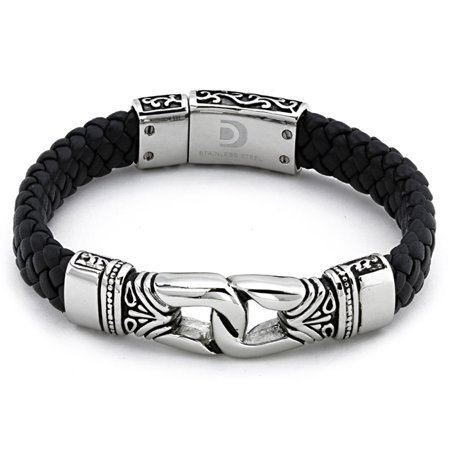 Mens Stainless Steel Antique Braided Leather Bracelet (All Star Mens Stainless Bracelet)