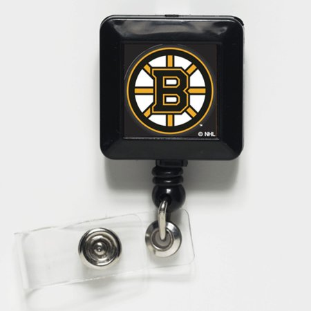 Boston Bruins Official NHL 1 inch x 1 inch  Retractable Badge Holder Key Chain Keychain by WinCraft Boston Bruins Nhl Keychain