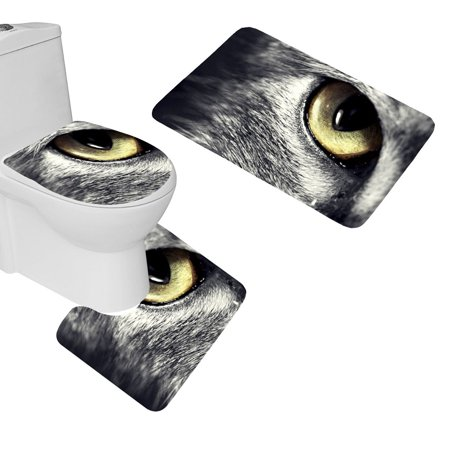 EREHome Cat Eyes Face 3 Piece Bathroom Rugs Set Bath Rug Contour Mat and Toilet Lid Cover - image 1 de 2
