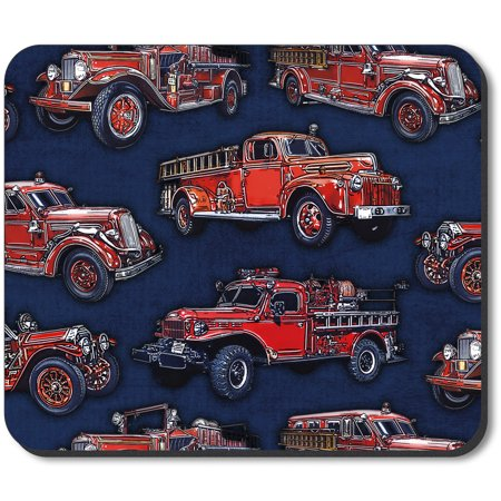 Art Plates Mouse Pad - Vintage Fire Trucks - Fire Truck Plates