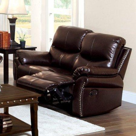 Furniture Of America Norfolk Bonded Leather Loveseat With Nailhead Trim Rustic Dark Brown
