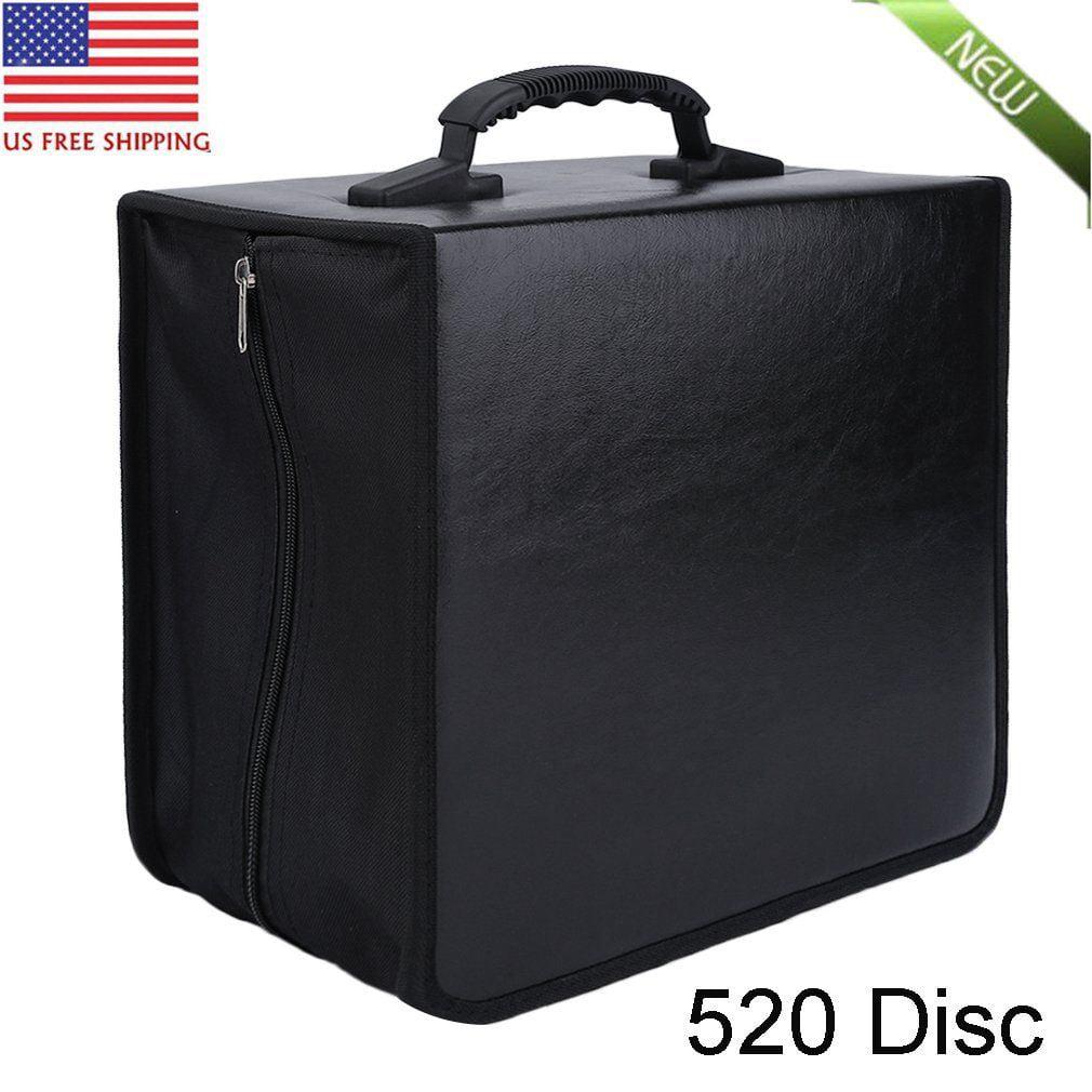Hold 520 Disc CD DVD Storage Bag Organizer High-Grade Leather Holder Media Carry Case Wallet Cover Bag Black